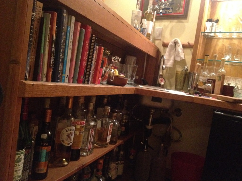 Booze and Books behind the bar