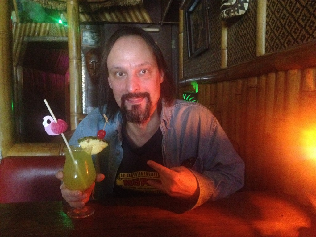 David with cocktail at The Tiki Lounge