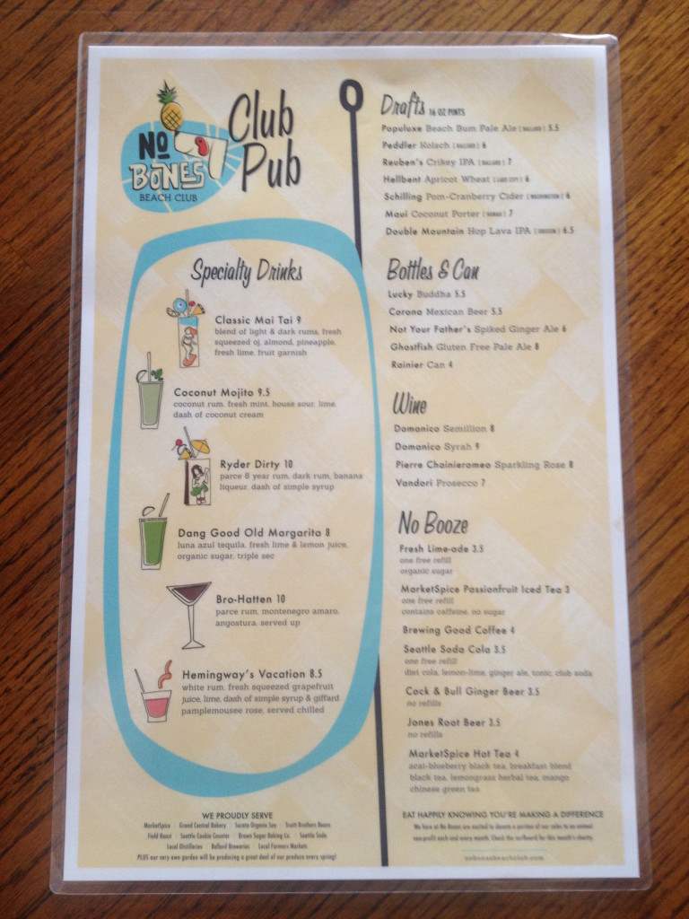 No Bones Beach Club Drink Menu