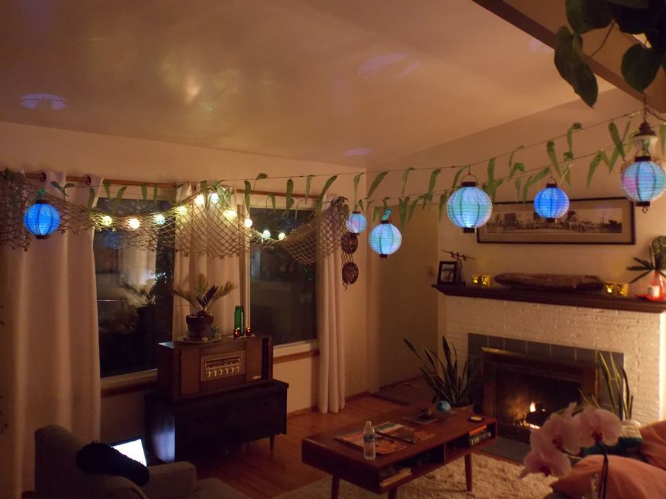 Tiki Christmas Party Living Room