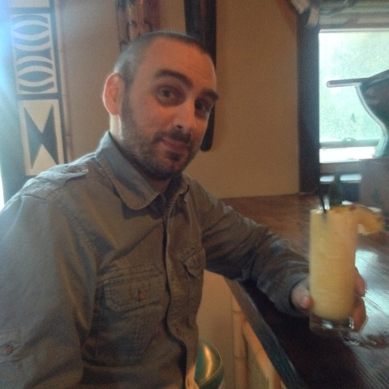 Jeff with a Virgin Pina Colada at The Yachtsman