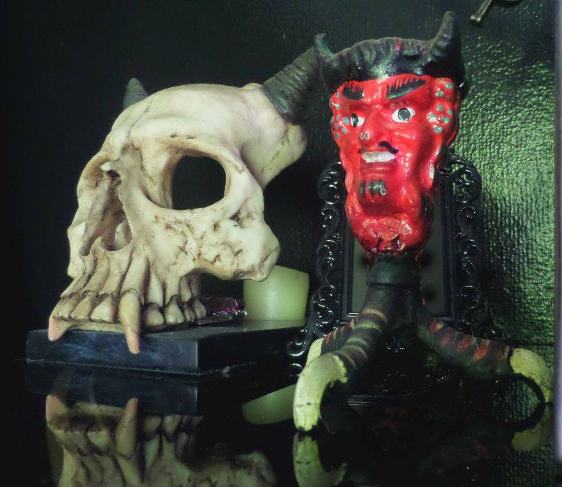 The Devil and a skull at Monkey Skull Voodoo Lounge