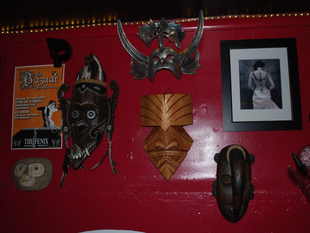 Wall hangings at Monkey Skull Voodoo Lounge