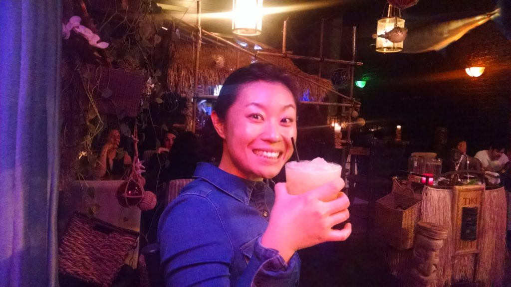 Hanjing with her Painkiller at Tacoma Cabana