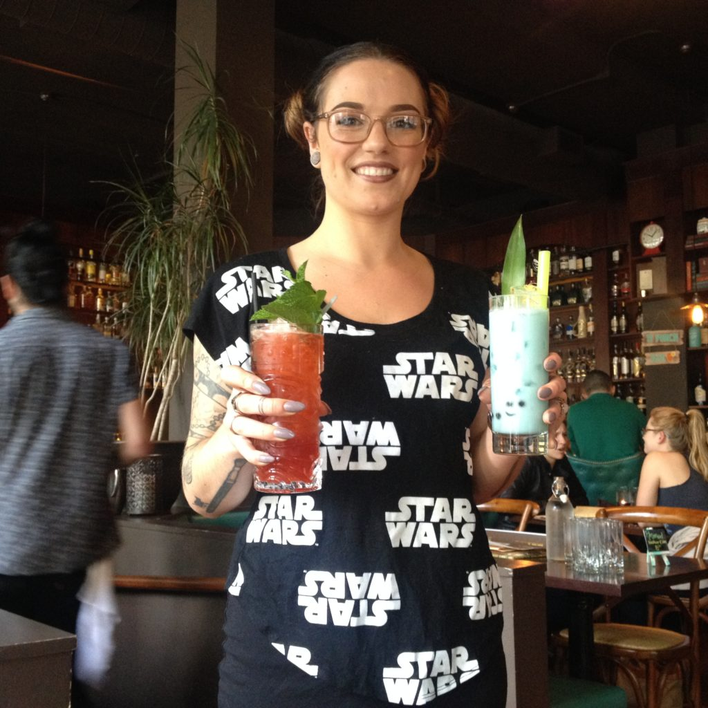 Our server Ally bring us our Star Wars Tiki drinks