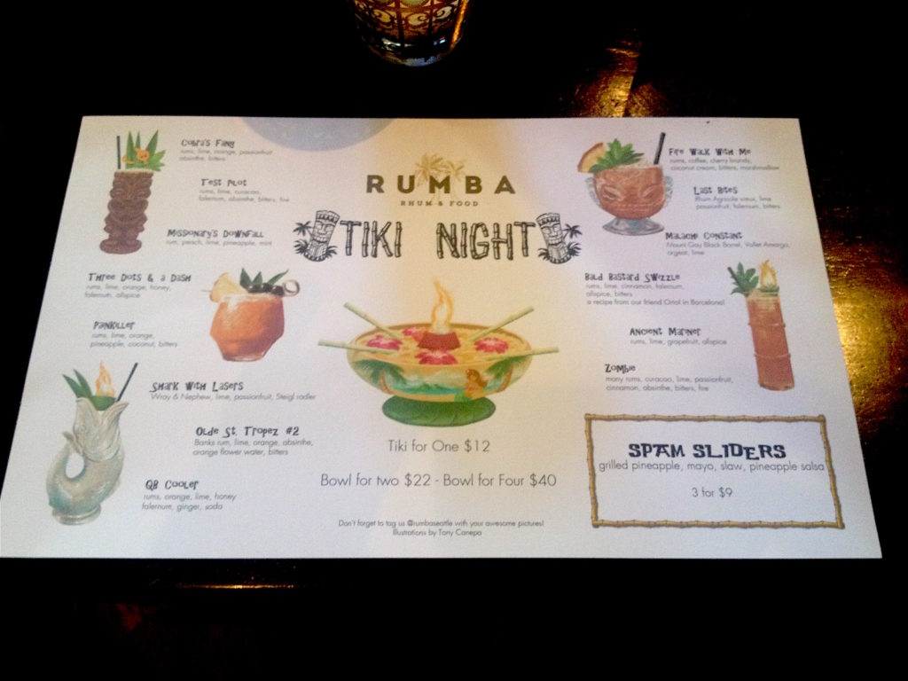 Rumba Tiki night menu