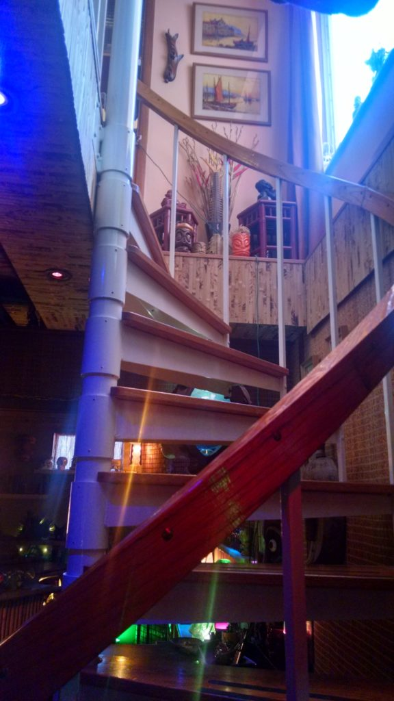 The Green Bamboo Lounge spiral staircase