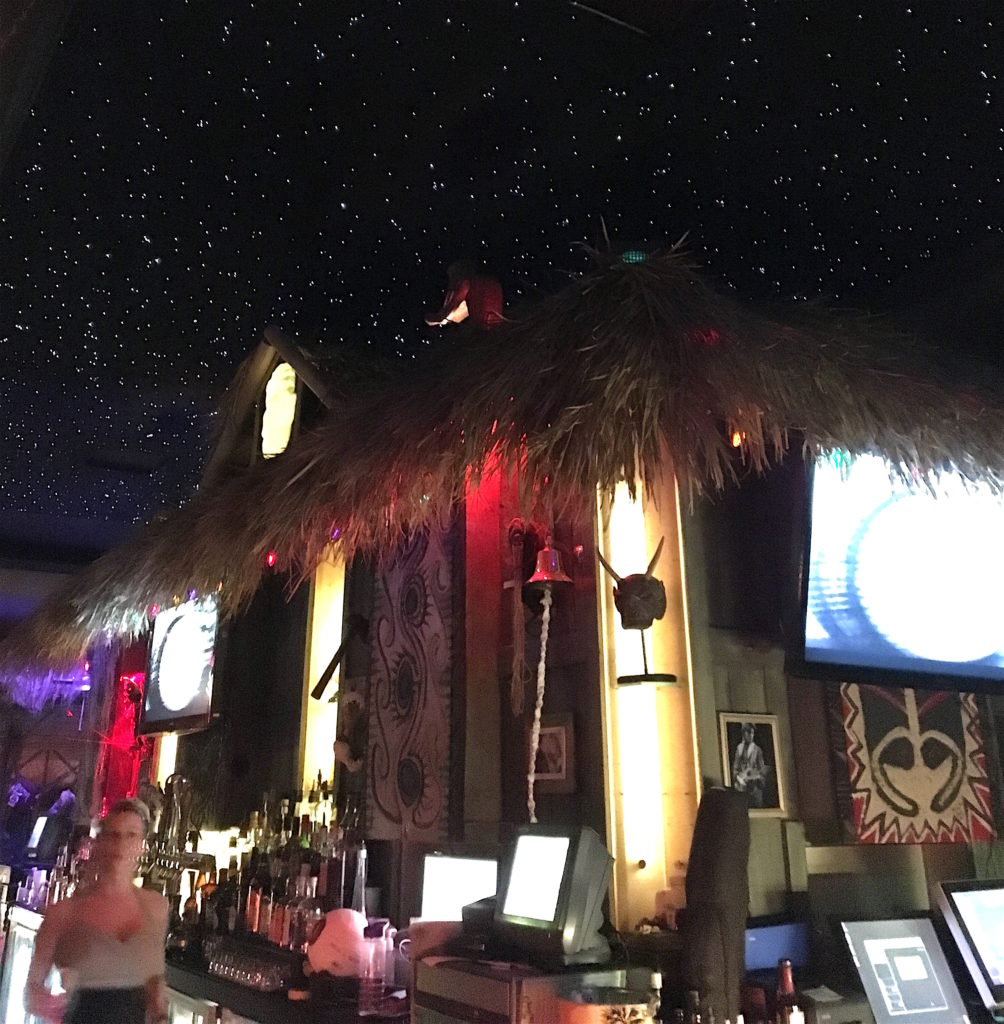 Star studded ceiling at The Golden Tiki