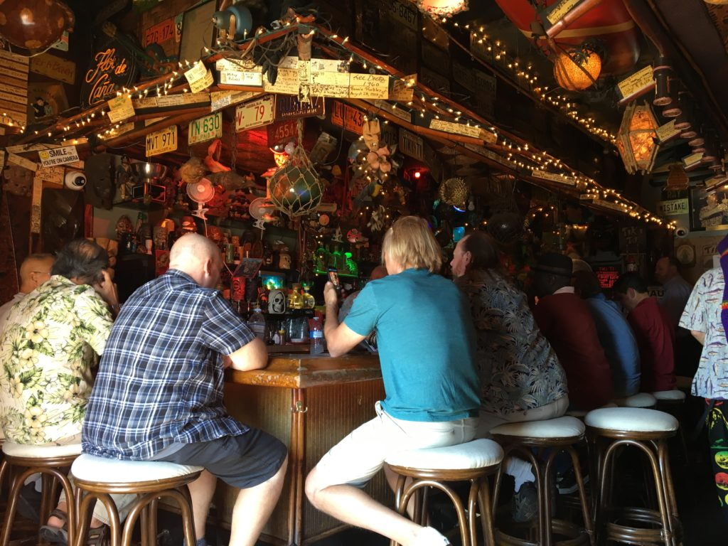 Sitting at the Tiki Ti bar