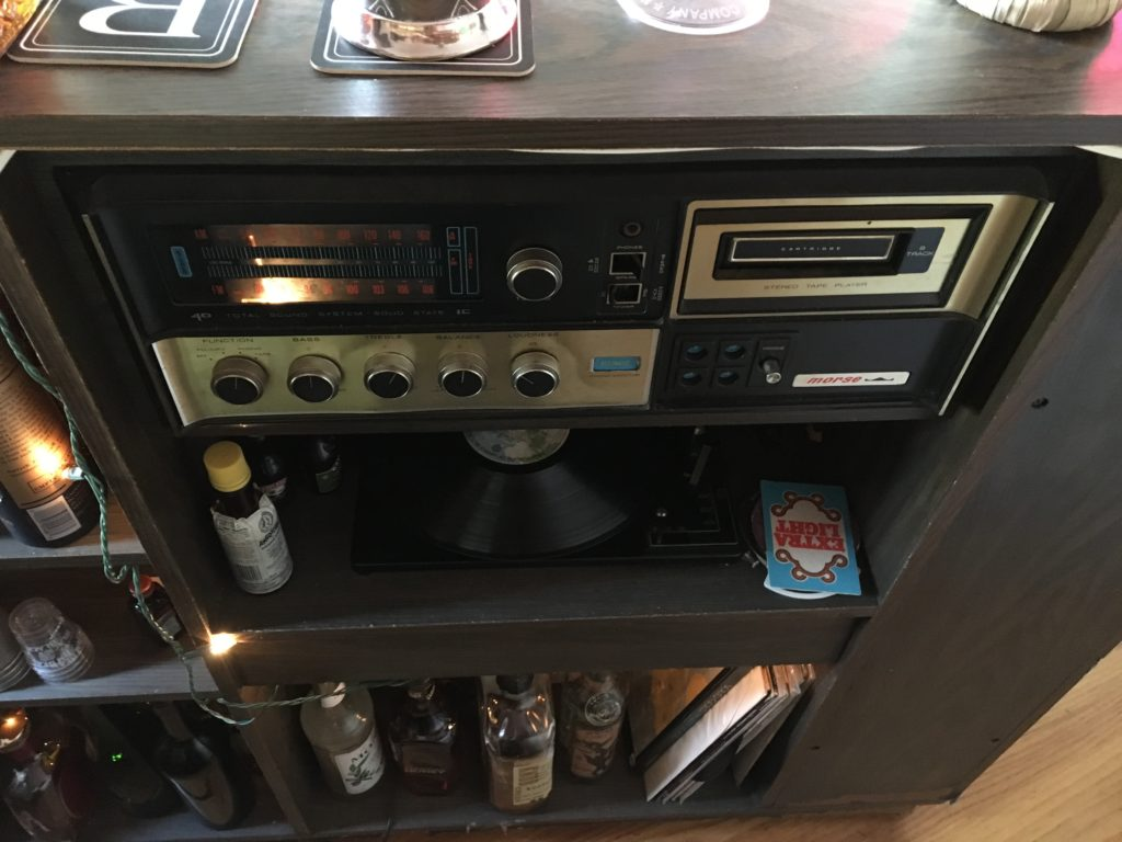 Stereo system built into bar