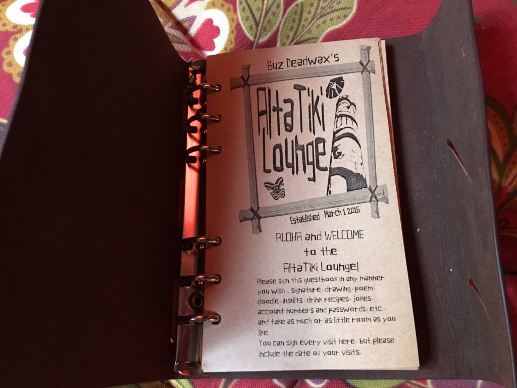 The Alta Tiki Lounge guest book