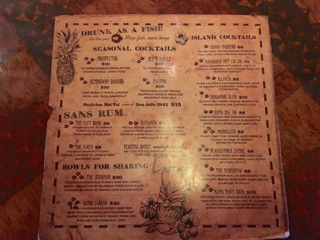 Kona Club drink menu