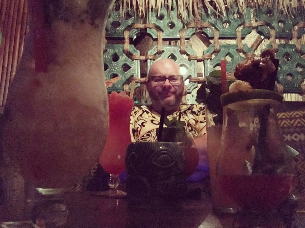Ray with a ton of drinks at Pagan Idol