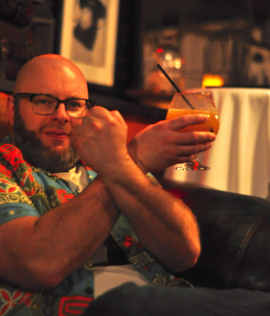 "Ray enjoying an ""off the menu"" non-alcoholic Tiki drink"