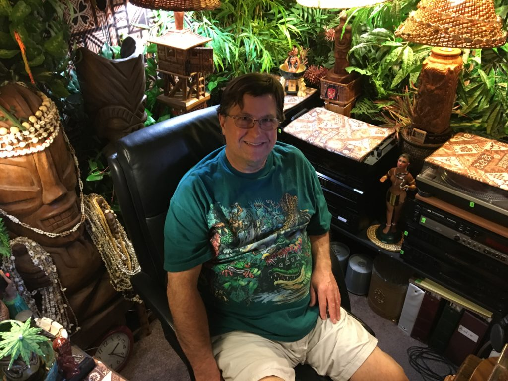 Dan controlling the sounds in the Tiki Jungle Room