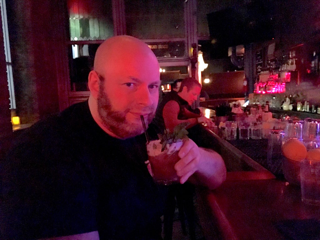Ray having a Straight-Edge Tiki drink