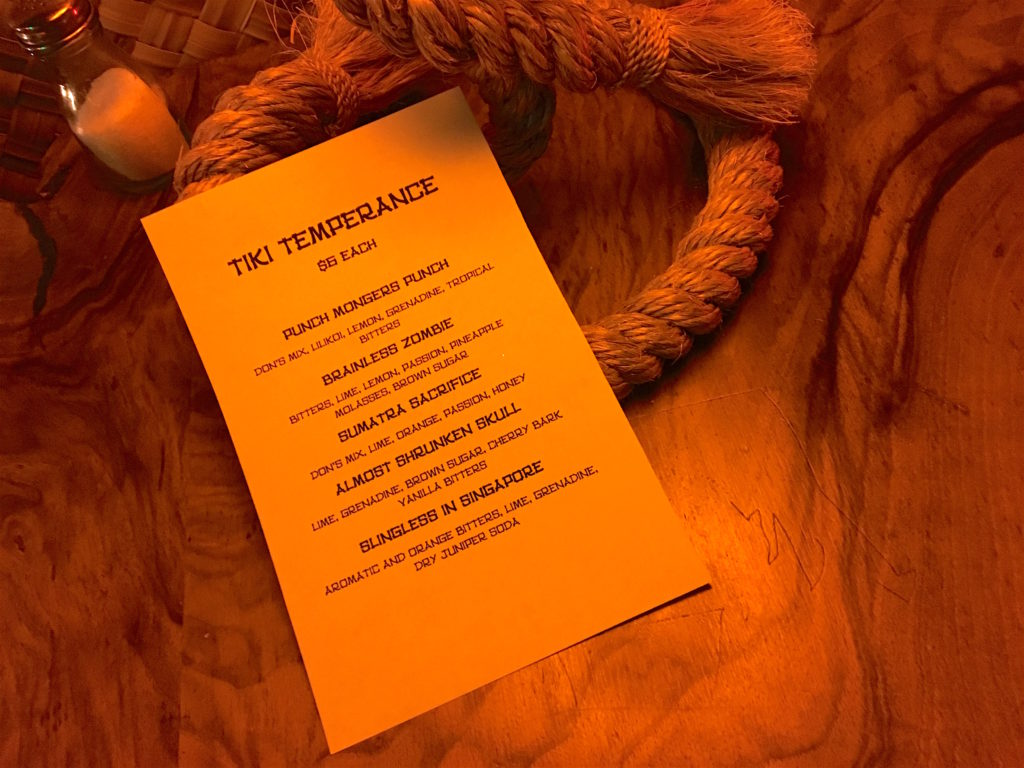 Non-alcoholic Tiki drink menu at Tacoma Cabana