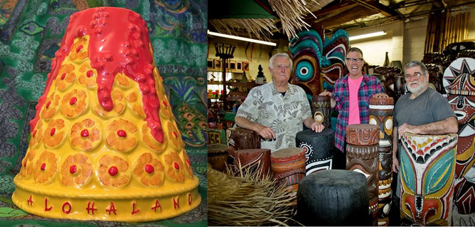 Charles Phoenix's Tiki Mug and Charles with Bob and Leroy of Oceanic Arts